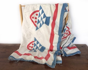 Antique handmade bed spread, full size red white and blue pieced and appliquéd vintage fruit basket quilt pattern, cherry basket bedspread