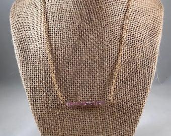 Purple Bar Beaded Necklace, Beaded Bar Necklace