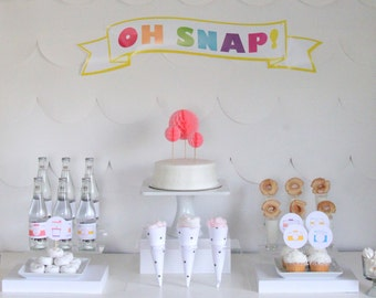 PRINTABLE 'Oh Snap!' camera party decor, labels and signs- complete printable photography party kit by kojodesigns