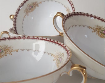 Vintage Mismatched Dishes, Meito China, 4pc Set of BouillonCups,Dover Pattern, White Cup Trimmed in Red and Gold, Shabby Chic, Wedding,