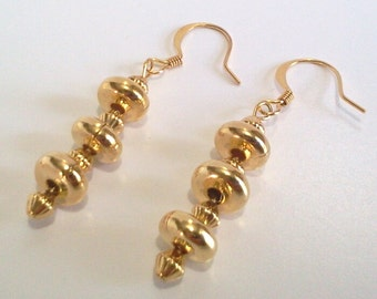 Yellow Gold Earrings,  Beaded Dangle Earrings, Gold Tone Metal Jewelry, Trendy Modern Minimalist Earrings, Stocking Stuffer Gift for Her