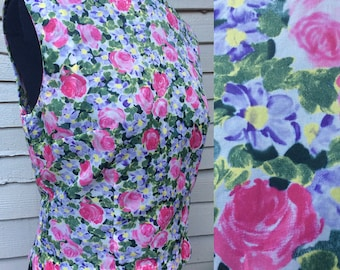 Pretty Vintage 1950's Floral Print Sleeveless Shell Top. UK Size 12 Vintage Fifties 50's