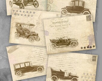 75% OFF SALE Retro Cars - Printable Download Digital Collage Sheet Gift Tags Retro Greeting Card Vintage image paper atc cards scrapbook