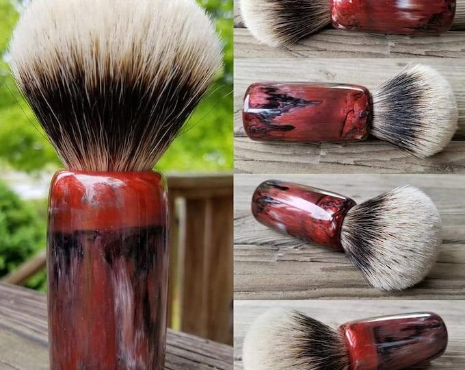 Red, Black and White Shaving Brush, Handmade, Free Shipping