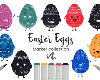 Easter Eggs Set Hand Drawn  Vectorized copy