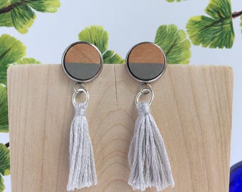 Grey Tassel Earrings / Wood Tassel Earrings / Tassel Earrings / Boho Chic / Trendy Earrings
