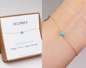December birthstone, birthstone bracelet, turquoise bracelet, bridesmaid bracelet, best friend gift, sister birthday gift, birthstone gift