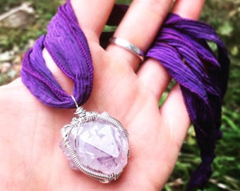 Amethyst Crystal Necklace - Wire Wrapped Amethyst Point - Natural Amethyst Pendant - Purple Gemstone - Silk Ribbon - Sterling Silver - OOAK