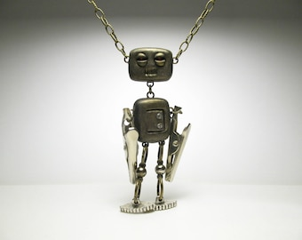 Robot Necklace - Sci Fi Jewelry - Polymer Clay Art Doll
