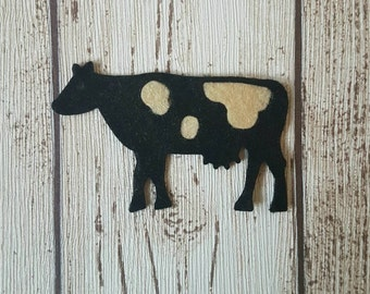 Felt Cows die cut for craft and embellishment, farmyard animals, dairy farm