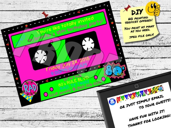 80s CASSETTE TAPE INVITATION Emailable Invite Evite