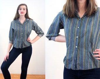 50s Striped Cotton Blouse S, Heart Print Gray & Green Vintage Shirt, Women's Retro Ship 'N Shore Cotton 1950s Top, Small