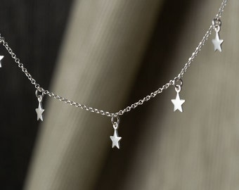 Dainty Necklace  5 stars Tiny Sterling Silver Stars Necklace Star Necklace Delicate Birthday gift choker Birthday necklace for mom