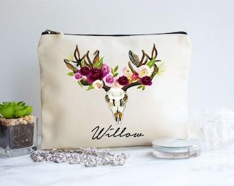 Floral Makeup Bag, Bridesmaid Makeup Bag, Fall Wedding Idea, Bridesmaid Gift, Cosmetic Bag, Fall Bridesmaid Gift, Makeup Pouch, Gift For Her