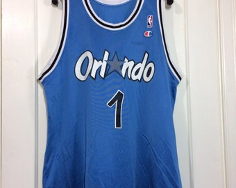 1990s Penny Hardaway number 1 Orlando Magic NBA Basketball team blue Champion brand Jersey Tank size 48 made in USA