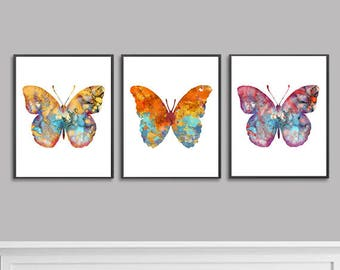 Watercolor Painting Butterfly Art Print Set, Insect Art, Nature Wall Art Butterfly Illustration, Home Wall Decor, Set of 3 prints - 68/66/70