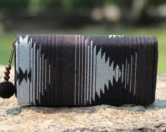 Chocolate Black Aztec  Womens Wallet   fabric Wallet    Purse   Clutch wallet   Vegan Wallet   Hippie Wallet   Wallet   Gift for Her
