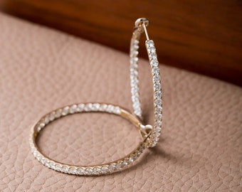 Vintage 18k Gold and Diamond In and Out Hoops