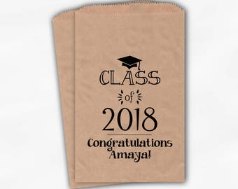 Class of 2018 Personalized Treat Bags - Set of 25 Black High School Graduation Party Custom Kraft Paper Favor Bags in School Colors (0214)
