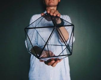 Glass geometric Terrarium, Glass icosahedron, Glass Planter, Home decor, Wedding table decor