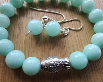 Pale green jade stretch bracelet, Malaysia jade bracelet, focal silver fish bead, matching earrings