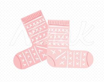 PINK KNITTED SOCKS Clipart Illustration - 0039