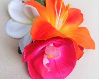 HAWAIIAN FLOWER HAIR Clip, Tropical wedding hair piece,, Bridal hair accessory, silk hair flower, Custom Headpiece, Fascinator,Beach Wedding