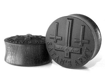Satan's Army Pattern Wood Ear Plugs/Gauges/Stretchers/Custom size 10mm-40mm