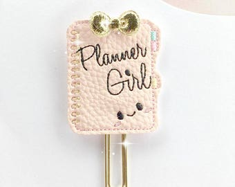 Pink/Gold/Planner Girl/Planner/Leather Applique Paper Clip/Planner Clip/Bookmark/Journal Marker