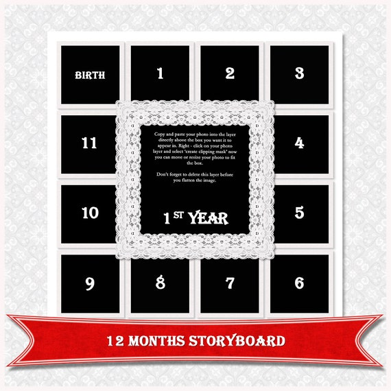 12X12 Photo CollageStoryboard template Photoshop Collage
