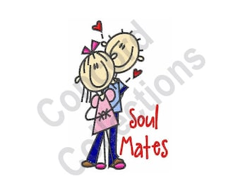 Couple Hugging - Machine Embroidery Design, Soul Mates