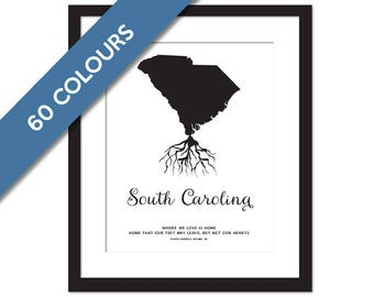 South Carolina Roots - State Map Art Print - South Carolina Map - South Carolina Print - South Carolina Poster - Travel - Custom State Print