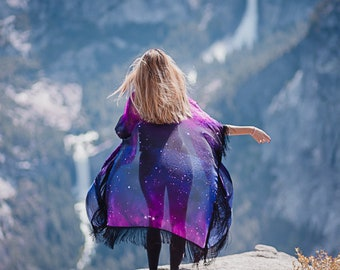 Kimono Nebula Robe Hippie Boho Celestial Festival Fashion Beach cover up Bohemian festival Oversized kimono Summer boho jacket