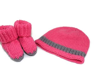 Hand Knitted Bright Pink and Grey Newborn Baby Set
