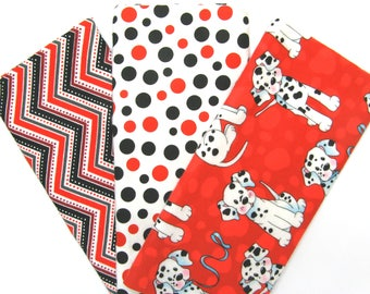3 Pack of Flannel Fabric Fat Quarters in a Bundle of Red, Black and White Puppy Dogs, Dots and Chevron Matching Prints
