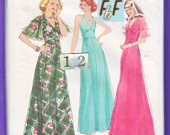 1970's Empire Waist Evening Dress Sewing Pattern/ Style 1687 Mod, V Neck, Backless, Fitted Waist, halter dress, Cape Overblouse/ Size 12