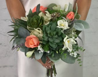 Wedding Bouquet, Bridal Bouquet, Succulent Bouquet, Greenery Bouquet, Artificial Bouquet, Silk Bouquet, Corsage, Boutonniere