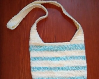 Cream and Aqua Crocheted Crossbody Bag