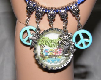 Grateful Dead Bracelet, Blue Leather Jerry Garcia Deadhead Jewelry, Peace Signs and Dancing Bears, Hippie Jewelry, Grateful Dead Jewelry #3