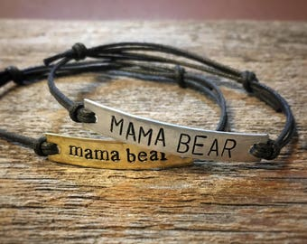 Mama Bear bar bracelet | or CUSTOM bracelet | boho bracelet | quote bracelet | simple bracelet | hippie bracelet | best friend gift