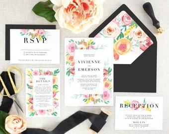 Pink Floral Wedding Invitation and Envelope - Printed Wedding Invitation Garden - Floral Wedding Invitation Suite Modern - Set of 10