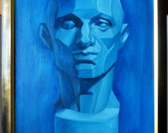 Asaro Head Front view, 30x40cm (11.8x15.7in), oil on canvas board, monochrome blue, unframed
