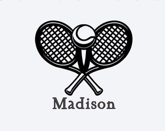 Personalized Tennis Vinyl Decal, Cell Phone Decal, Tablet Decal, Car Decal