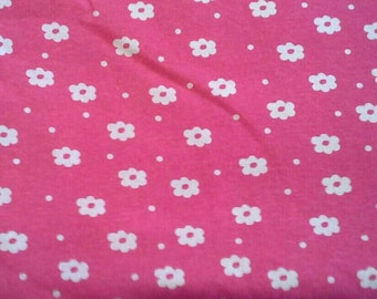 Pink with White Flowers Medium Weight Knit Print 1 1/2 Yards X0623
