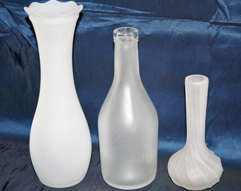 Vintage frosted glass: 2 vases and 1 French liqueur bottle; set of frosted glass vases; shabby chic; French chic; centerpieces