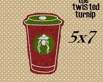 2 Sizes In The Hoop Cute Christmas Coffee Mocha Latte Cappuccino Felt Feltie Embroidery Design Designs File Instant Download 5x7 Hoop