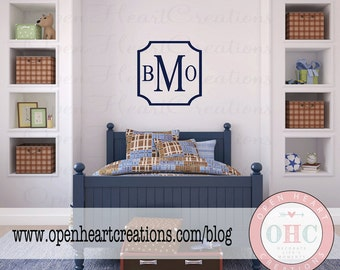 Modern Three Initial Monogram Wall Decal with Simple Square Frame Border - Personalized Vinyl Decal for Nursery Teen Room FN0585