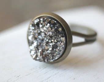 Druzy Ring Adjustable Druzy ring Druzy jewelry Antiqued Brass Ring or Silver Druzy ring Dark Grey Druzy Geode Gift for Her gift under 15 R19
