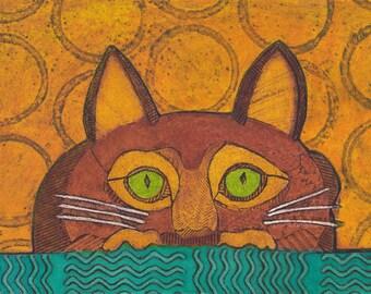 Orange Cat Art, Original Collagraph Print, yellow ochre, teal - Wacky Cat 15