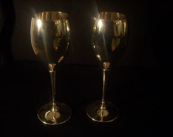 Vintage EL De Uberteri Silver Plated Wine/Goblet Glasses Set of 2 Italy